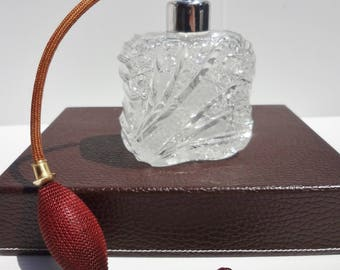 Antique AMERICAN BRILLIANT Cut Clear Crystal Perfume Bottle With Atomizer  c. 1910's