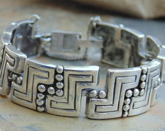 Ella L Cone ~ Vintage Mid Century Modernist Sterling Silver Zigzag Link Bracelet - 43 Grams