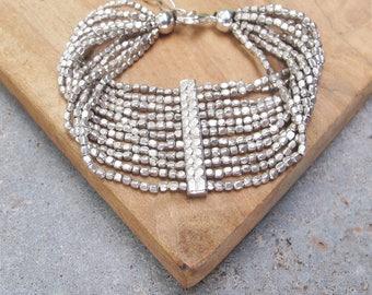 Silver Beaded Bracelet, Seed Bead Bracelet, Geometrical Bracelet, Beaded Silver Bracelet, Boho Bracelet, Tribal Jewelry, Bohemian Bracelet