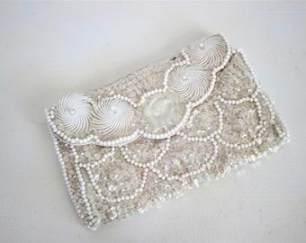 Vintage 1960s Beaded Clutch Purse / Sequinned Evening HandBag / Vintage Hand Bag Wedding Bridal Bride / Hasihato Snap