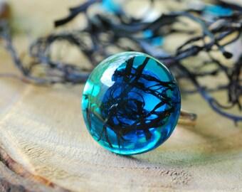 Ocean Ring, Blue Mermaid Ring, Mermaid Jewelry, Blue Resin Ring, Adjustable Ring, Sea weed, Girly Gift, Beach Summer Ring, Ocean Jewelry