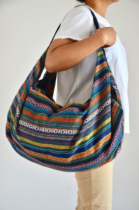Woven Cotton Bag Handbags Beach Bag Hippie Hobo Bag Boho Bag Shoulder Bag  Sling Bag Messenger cb2c1883ca29c