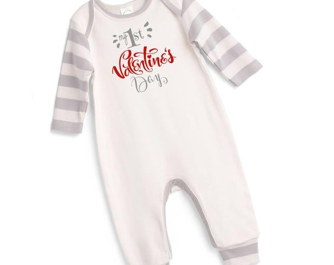 Baby My First Valentines Romper, Newborn Boy 1st Valentine's Bodysuit, Infant Boy Valentines Onesie, 1st Valentines Baby Romper Tesababe