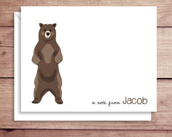 Bear Note Cards - Folded Note Cards - Personalized Children's Stationery - Thank You Notes - Illustrated Note Cards