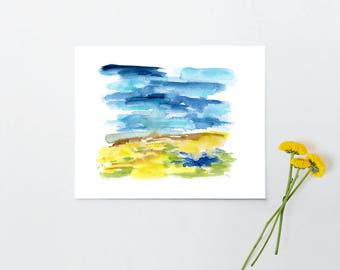 Contemporary Landscape Wall Art, Watercolor painting, Abstract, simple, modern, Gift for Her Gift for Him - Field & Sky 5