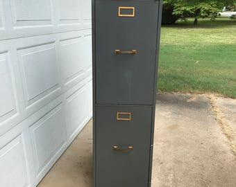 Vintage Metal Cabinet Filing Cabinet Medical Cabinet 2 Drawers Industrial