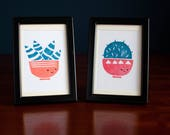 Cactus and Aloe Vera linoprint set - two hand-printed 2-colour lino prints