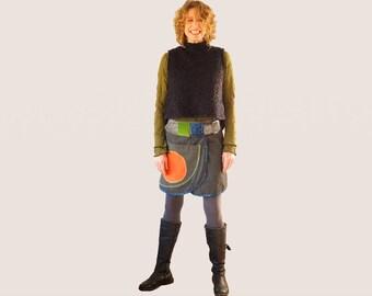 Denim mini skirt, funky wrap skirt, wrap mini jeans skirt, casual gray wrap skirt, skirt with pockets, Aline mini skirt, urban mini skirt