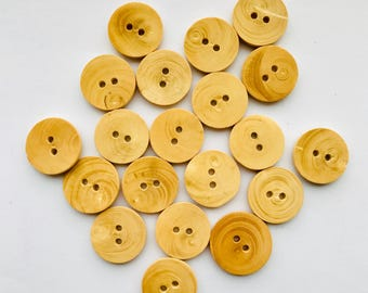 19 Wooden Round Buttons, 2 Holes Buttons, Nordic Buttons, 17 mm Buttons, Danish Findings, Scandinavian - FREE Shipping With Other Purchase