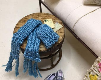 Miniature Dollhouse Hank Knitted Hat and Scarf Set - Blue