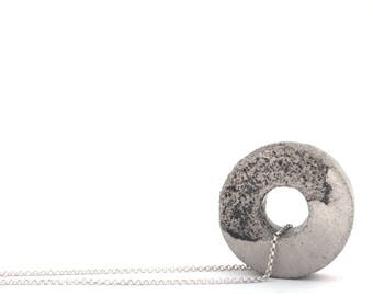 OOAK Long circle necklace, Concrete jewelry, Hoop Pendant, Statement necklace, Minimalist, Gift for men, Geometric Beton jewelry for her