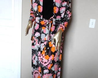 40% OFF Vintage 1960's Orange and Pink Floral Dress and Jacket* R&K Knits . Size M/L . Maxi Dress . Spring . Summer . Bold and Beautiful . P