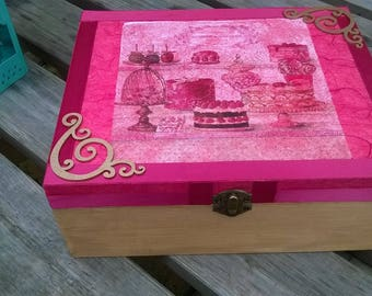 Keepsake Box- Wooden Recipe Box- Memory Box- Large storage box- French Patisserie theme- Trinket Box