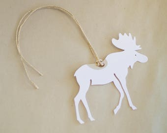 Moose Gift Tags - Set of 8 White Moose Hang Tags
