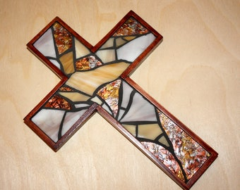 Rustic Mosaic Wall Cross, Small Wooden Wall Cross, Stained Glass Wall Cross, Baptism Wall Cross