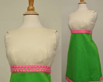 60s Wool Mini Dress Lime Green Metallic Trim S