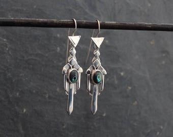 Silver Earrings, Abalone Earrings, Art Deco Earrings, Paua Shell Earrings,