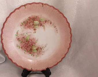 Hand Painted Ceramic Plate wall hanging with flowers in pink and green by Sumie 1988