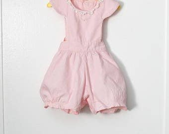 12-18 Months: Pink Cotton Pinafore Romper, Lace Trim, Flower Embroidery,  by Deb-Ettes