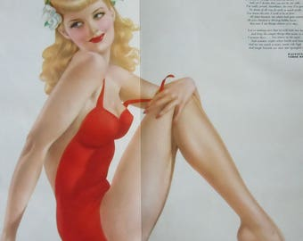 Varga Girl Pin-up from Esquire Magazine / Authentic....not a print / 2-Sided Pin-up Poster with Gunner image on back