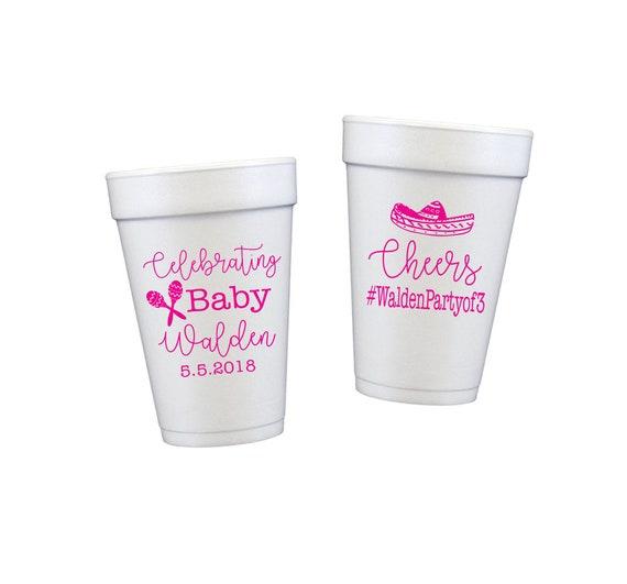 gender neutral baby shower, fiesta shower, personalized cups, foam cups, styrofoam cups, fiesta baby shower, baby shower party favor