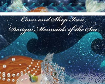 Mermaids of the Sea, Cover banner and Shop Icon, Instant download, blank, ocean waves, moon, mermaid tails, sparkle, night sky, stars, crown