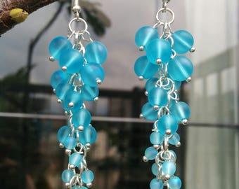 Sky-blue Dangling Earrings