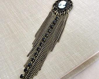 Cameo Pendant Necklace, Cameo Tassel Necklace, Long Cameo Necklace, Black/White  Cameo Pendant, Victorian Cameo, Downton Abby Pendant, Cameo