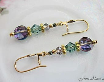 Crystal Earrings, Jewel-Tone Crystal Dangle, Iridescent Purple/Green Earring, Crystal Jewelry, Green & Purple Earring, Spring/Summer Jewelry