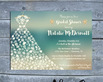 Beach themed Bridal Shower Invitation | Sea Shell Bridal Shower |  Beach Wedding Shower Invitation | Printable bridal shower invitation |