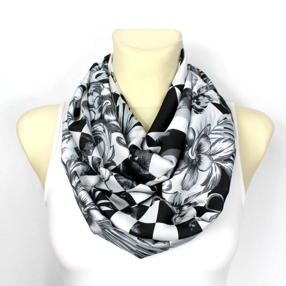Infinity Scarf Womens Gift for Her White Infinity Scarf Boho Scarves Floral Scarves Womens Gift for mom grandma Summer Outdoors Summer Party