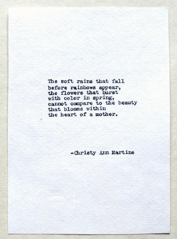 Christmas Gift for Mom - The Heart of a Mother Poem Hand Typed by Poet with Vintage Typewriter