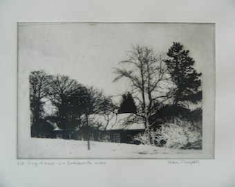 Original etching: Snug at home in a Saddleworth winter.  Black and white dry point etching.
