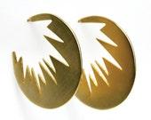 Implode Earrings / Graphic Circle Hoops / Handcut Hoops / Star Burst Earring / Circle Stud Earring / Bursting Graphic Earrings /HANDMADE NYC