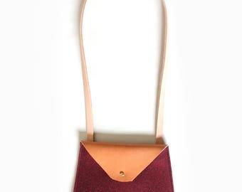 Bordeaux Felt & Leather Crossbody Bag