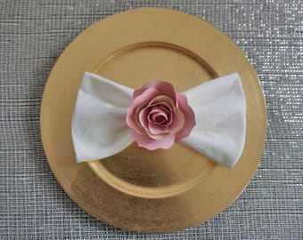 Handmade Paper Flowers Napkin Ring - Blush Pink Paper Roses - Floral Table Decor - Paper Rose Table Setting - Babyshower Decor-Wedding Decor