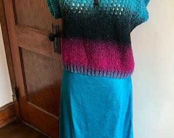 80s Sweater, Crochet Sweater, Ombre Sweater, Vintage Handmade, Handmade Crochet, Short Sleeve, Womens Vintage Clothing, 1980s Sweater