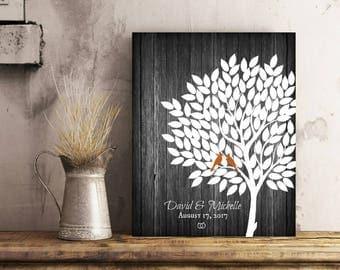 Rustic Wedding Tree Signature Guest Book Alternative, Rustic Wedding Tree Guest Book, Vintage Wedding Guestbook, Wood Print  - 60677B