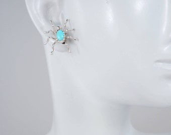 Turquoise Spider Earrings, Post Earrings, Native American, Navajo Made, Turquoise Earrings, Sterling Silver