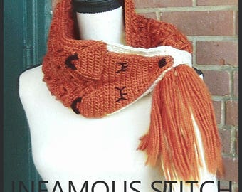 Red Fox Cowl Red Fox Scarf Red Fox Stole Wool Red Fox