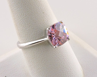 Size 9 18k White Gold Plated 4ct Pink Cubic Zirconia Ring