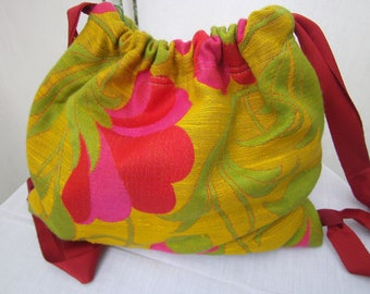 small Backpack small Bag  green pink Cotton, Women, floral Backpack