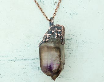 Large Purple Electroformed Brandberg Amethyst Crystal Point Necklace // Boho Raw Amethyst // Large Raw Stone Pendant / Witchy Copper Jewelry
