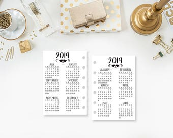 Pocket 2019 Year at Glance printed planner insert - year in review - yearly planner insert