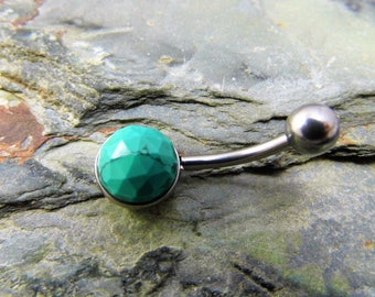 Tibetan Turquoise Belly Bar Surgical Steel Belly Button Ring Rose Cut Turquoise Belly Ring December birthstone