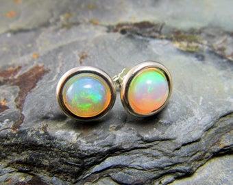 Opal Stud Earrings Sterling Silver Studs Opal Earrings Ethiopian Opal Cabochon 8mm Round Welo Opal