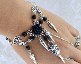 Nevermore - Gothic Raven Skull Bracelet - Black rose - Steampunk Raven Bracelet - Black and Antique Silver