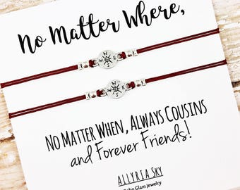 """Set of Two Cousin Friendship Bracelets with """"No Matter Where"""" Card 