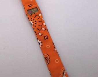 """SALE Fitbit Charge HR fabric band cover, large 9"""", orange bandana, ready to ship"""