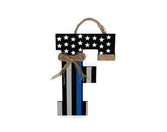 BLUE LINE Police Thin BLUE line American Flag Letter Door Wreath Decoration Police Officer Peace Patriotic Initial Letter Door Wreath Hanger